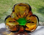 Heavy Vintage Amber Gold Yellow, Forest Green, Murano Venetian Glass Triangle Shaped Bowl, Ashtray, Trinket, Candy Dish