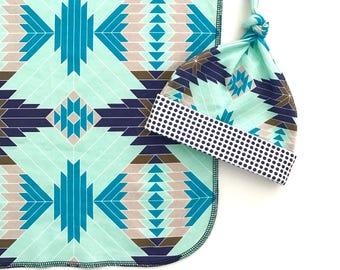 Blue Tribal Aztec Organic Cotton Swaddle Blanket, Navy Newborn Blanket + Hat, Modern Geometric Nursing Cover, Boy Stroller Blanket