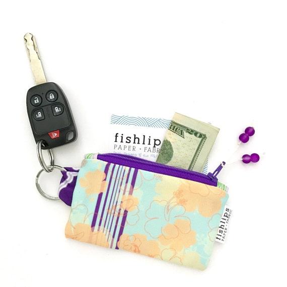Canvas Cash Coin Purse,Hawaii Pink Flower Print Make Up Bag Zipper Small Purse Wallets