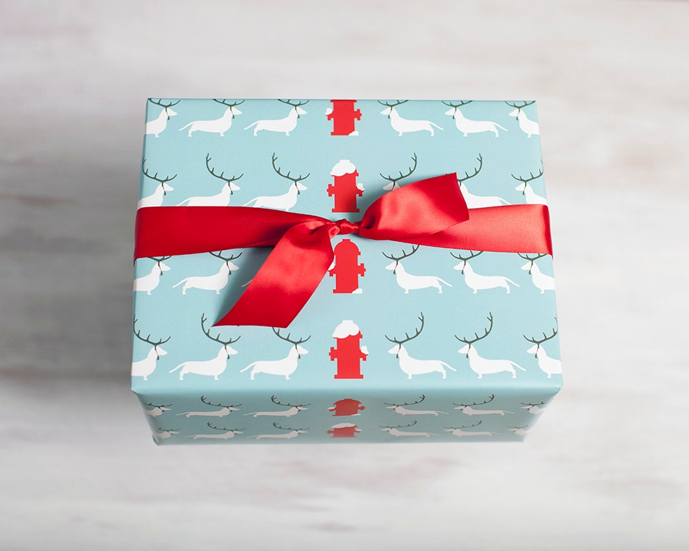 blue recycled gift wrap dog wrapping paper eco friendly etsy. Black Bedroom Furniture Sets. Home Design Ideas