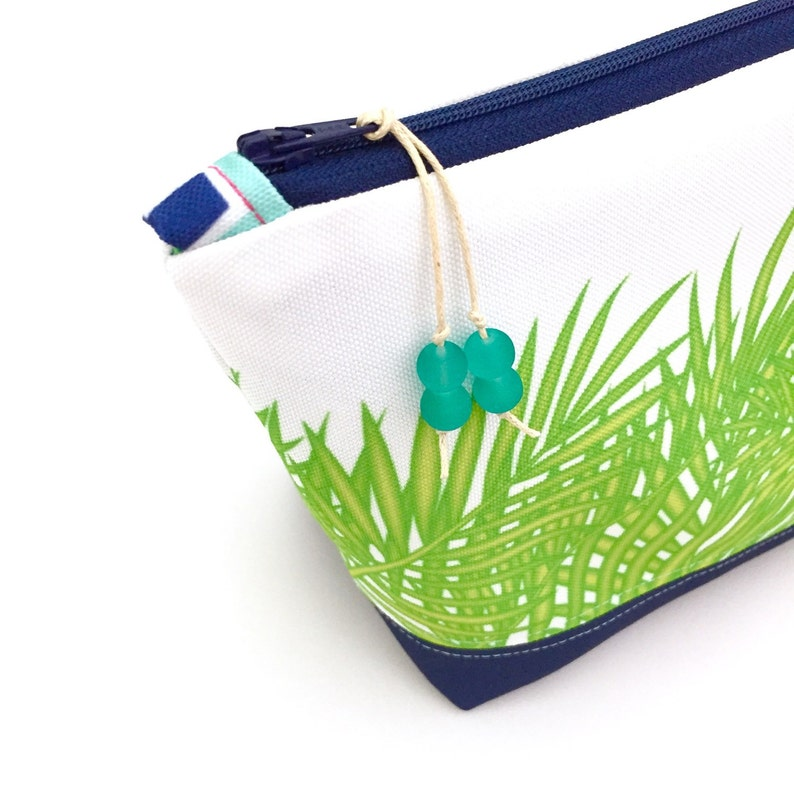 c0392f4bb9c4 Tropical Leaves + Navy Make up Bag, Large Recycled Zipper Pouch, Diaper Bag  Organizer, Eco Cosmetics Bag, Glass Beads, Gift For Mom, Palms