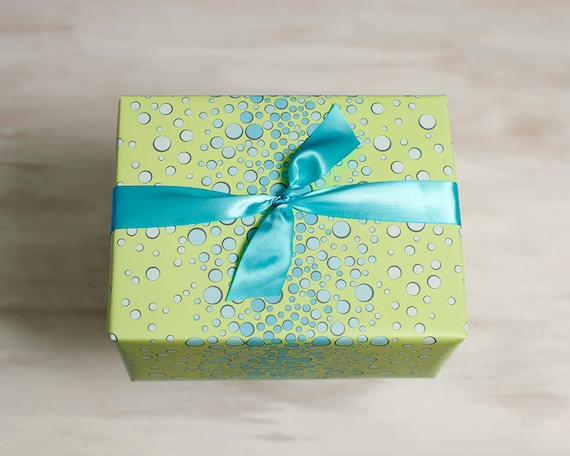 bubbles recycled gift wrap green wrapping paper eco gift etsy. Black Bedroom Furniture Sets. Home Design Ideas