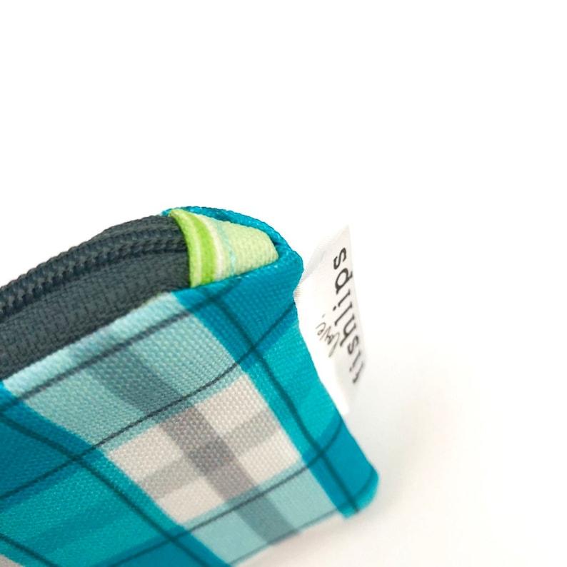 Aqua Check Key chain Wallet for Women Aqua Zipper Pouch Coin Purse Blue Buffalo Plaid Key Chain for New Driver Southern Style Zipper Bag.