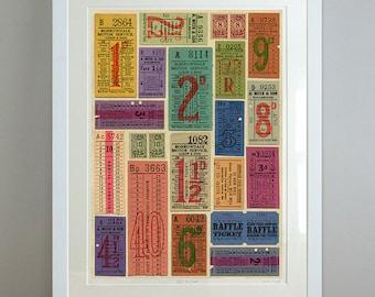 Vintage ticket collection, large fine art giclée, bus ticket ephemera. Title: Just the Ticket