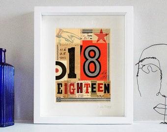 18th Birthday, Lucky 18, number 18, age 18, pop art, fine art print. 8 x 10 inch mount.