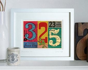 Transit Passes 325, typographic ephemera fine art giclée. Contemporary collage.