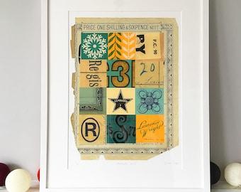 Elements no. 3, A3 plus, fine art giclée, limited edition, vintage ephemera print