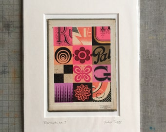 Elements: no. 7, mini print in 10 x 8 inch mount, pink & black, vintage ephemera
