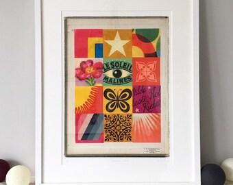 Elements no. 2, psychedelic pop art, fine art giclée, limited edition, vintage ephemera print
