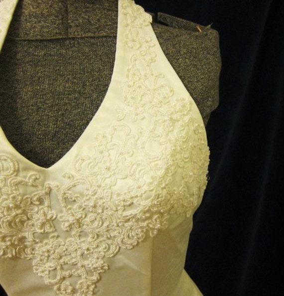HALTER wedding dress,  white SATIN dress, vintage