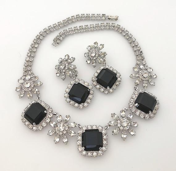Vintage Jewelry Statement Necklace Set, Black Rhin