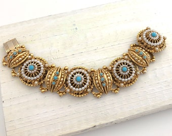 Vintage Jewelry Statement Bracelets for Women, Etruscan Style Pearl and Turquoise Bead Gold Tone Fancy Link Bracelet