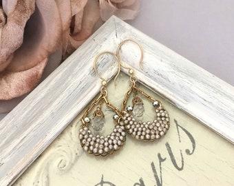 Assemblage Jewelry Dangle Earrings for Women, Vintage Earrings, Crystal Drop Earrings, Handmade Unique Pearl Earrings, Repurposed Earrings