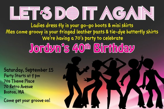 Custom 70s party theme party invitation I Create You Print