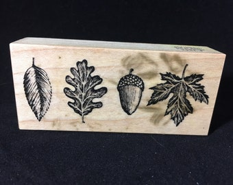 Acorn and Leaves Rubber Stamp Autumn Fall Used See Photos