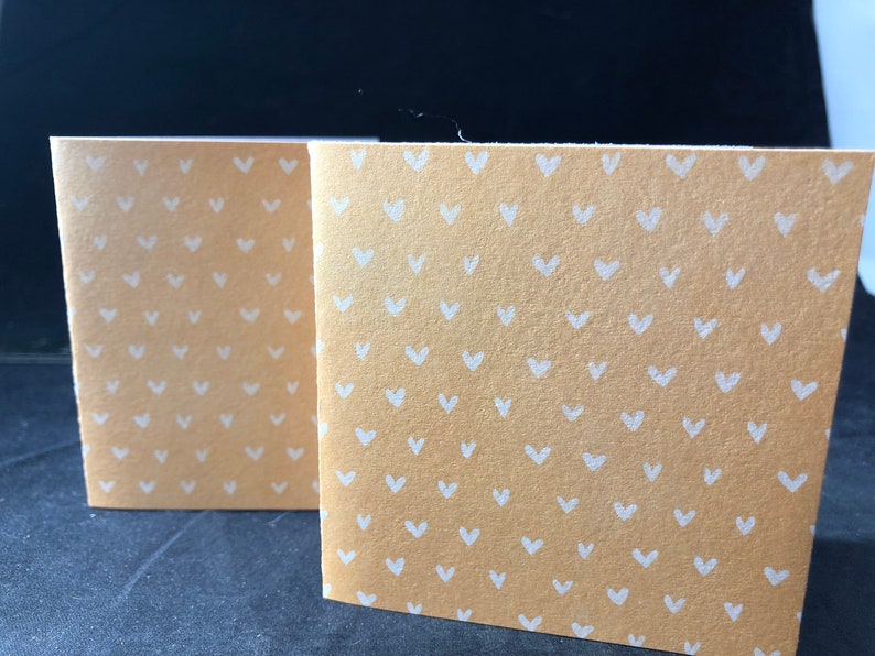 Light Orange Hearts Square Cards Tags Set of 8 3 Cards Grayish Brown