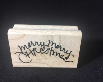 Merry Merry Christmas Rubber Stamp
