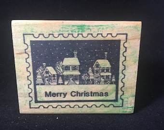 Merry Christmas Holiday Postage Stamp Rubber Stamp USED