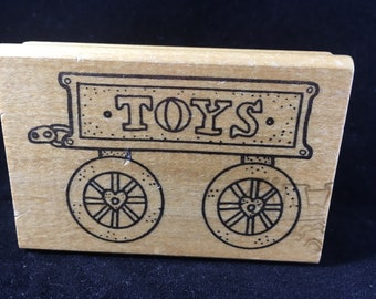 Toy Wagon Rubber Stamp Baby Christmas