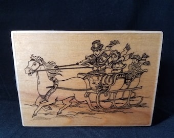 Sleigh Ride Used Rubber stamp Christmas Rubber Stamp