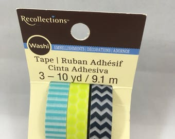 Recollections Washi Tape - Blue and Lime Green