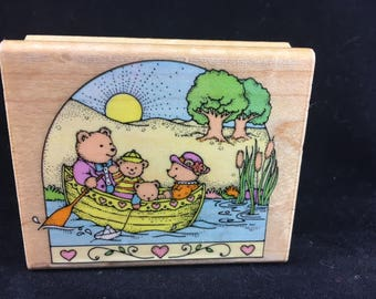 Rowing at Sunrise Limited Edition 1992 Used Rubber stamp Hero Arts