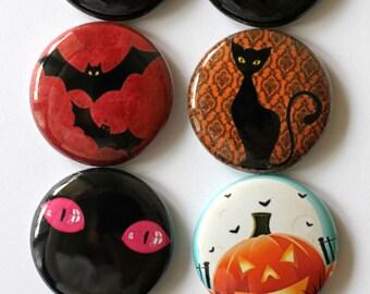 Halloween Flair, button, pin, Black & orange, pumpkin, bats, spiders, webs,black cat, cat,