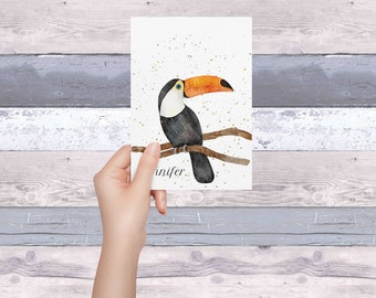 Set of  8, 10 OR 20 Toucan cards, personalization on the front ( family friendly) , inside is blank for your own writing