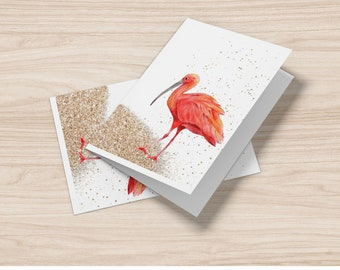 Set of  8, 10 OR 20 Ibis  on the sand cards, personalization on the front ( family friendly) , inside is blank for your own writing