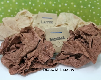 Mocha Latte---10 yards Crinkle Ribbon - Mocha and Latte