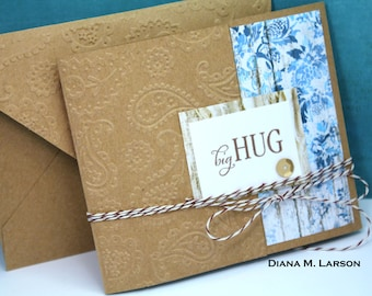 "Butterfly tri-fold  ""Big Hugs 4 1/4 x 5 with matching embossed envelope"