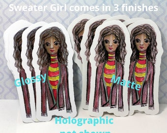 Sweater Girl, original art by Diana M. Larson  stickers matte, glossy and Holographic , red and green sweater