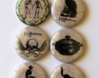 Flair, Halloween, Halloween pin, badge 1 inch, pin back, flat back, open back,skull, raven,skeleton, cauldron, skull with wings, which, bat,