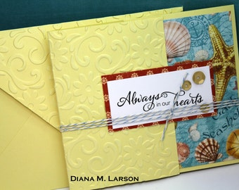 "Butterfly tri-fold  ""Always in our hearts"" card 4 1/4 x 5 with matching embossed envelope"