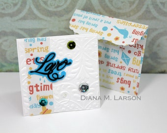 "LOVE  card Tiny envelopes, Set of 4 cards 2.5"" x 2.5"" with Handmade  envelopes with peel and seal closure,"