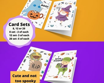Set of  8, 12 OR 20  cute Halloween  cards, personalization on the front (family friendly) , inside is blank for your own writing