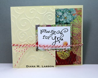 "Butterfly tri-fold  ""Praying for You"" card 4 1/4 x 5 with matching embossed envelope"