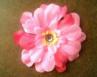 Pink, Hot Pink Flower w/ rhinestone Hair Clip