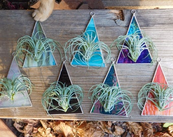 Air Plant Holder Triangle Geometric Planter Wall Art Stained Glass Suncatcher Hanging in Burnt Orange, Purple, Iridescent White or Blue