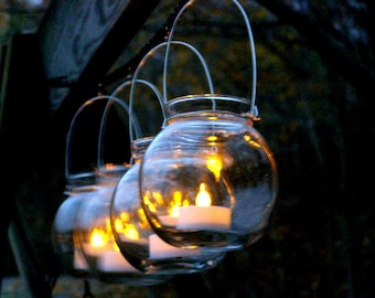 Four Clear Glass Globe Candle Holder Lanterns Hanging Vase Outdoor Lighting Wedding Decorations