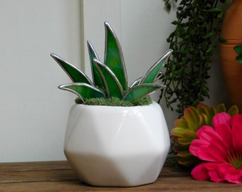 Stained Glass Aloe Succulent in White Geometric Planter Pot Lead Free