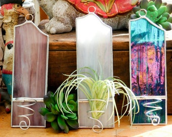 Air Plant Holder Stained Glass Hanging Wall Decor