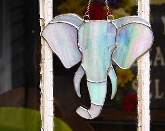 White Elephant Stained Glass Suncatcher Wall Hanging Boho Style Decor