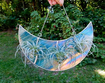 Triple Air Plant Holder Stained Glass Iridescent Turquoise Crescent Moon