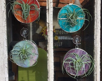 Air Plant Holder Circle Geometric Hanging Wall Art Planter Stained Glass Suncatcher Gift