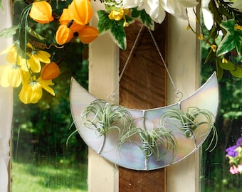 Triple Air Plant Holder Stained Glass Iridescent White Crescent Moon