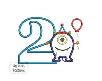 INSTANT DOWNLOAD, Machine Applique Design, Number Two with Monster