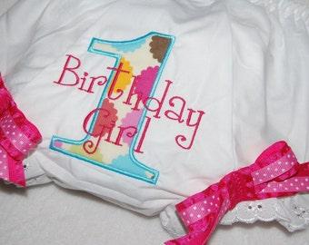 INSTANT DOWNLOAD, Machine Applique Design, Birthday Girl for First Birthday