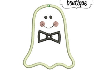 INSTANT DOWNLOAD, Machine Applique Design, Boy Ghost with Bow Tie