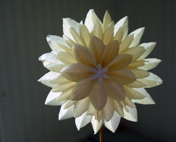 items similar to paper flower white dahlia  paper dahlia wedding flowers  first anniversary gift